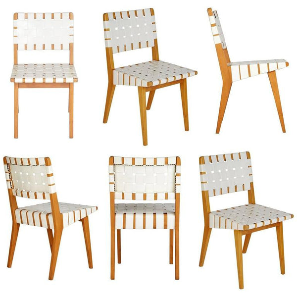 Jens Risom 666 WSP Webbed Vinyl Chairs for Knoll, Set of Six