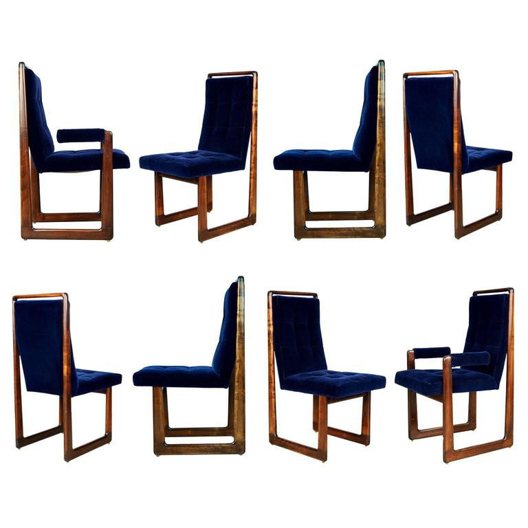 *SOLD* Vladimir Kagan Signed Cubist Dining Chairs, Set of Eight, circa 1960