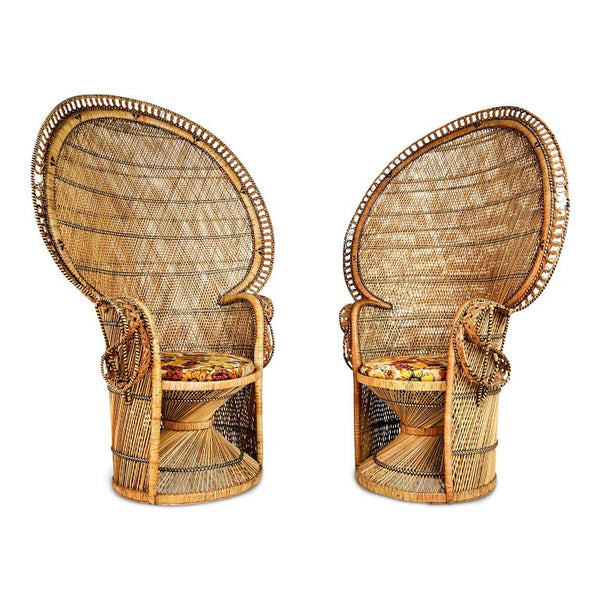 *SOLD* Iconic ''Emmanuelle'' Sylvia Kristel Wicker Rattan Peacock Chairs, circa 1970