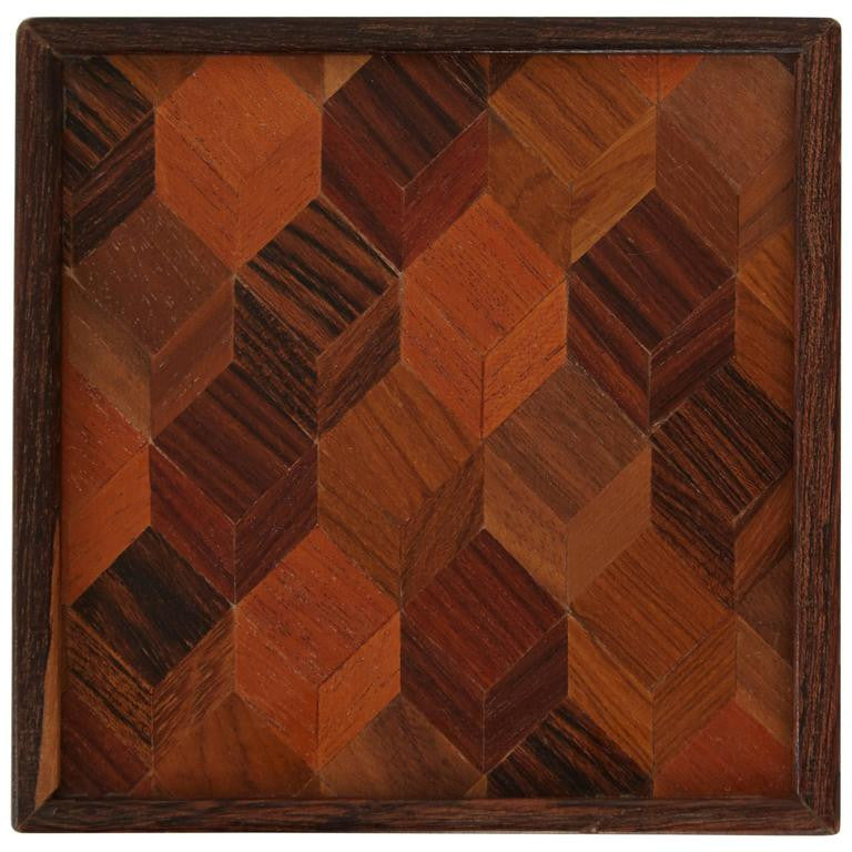 Don Shoemaker Rosewood, Exotic Woods Inlaid Box for Señal, circa 1970