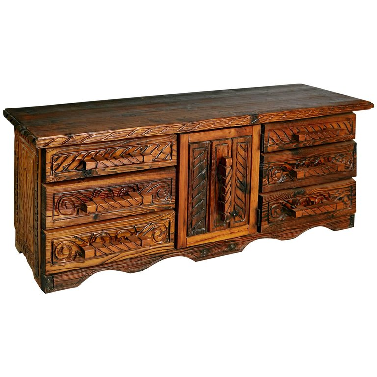 William Westenhaver for Witco Exotic Carved Wood Sideboard, circa 1957
