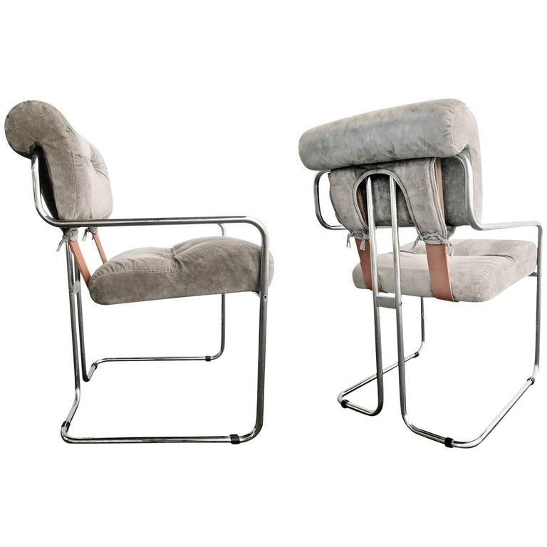 Guido Faleschini Italian Leather Tucroma Chairs by Mariani for Pace, Set of Two