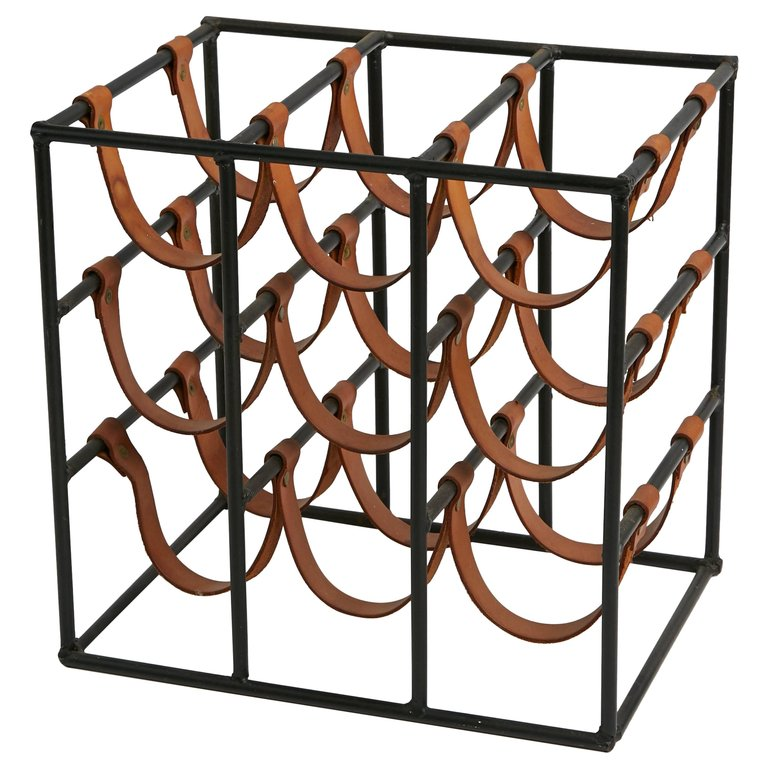 Nine Bottle Iron and Leather Wine Rack by Arthur Umanoff, circa 1960