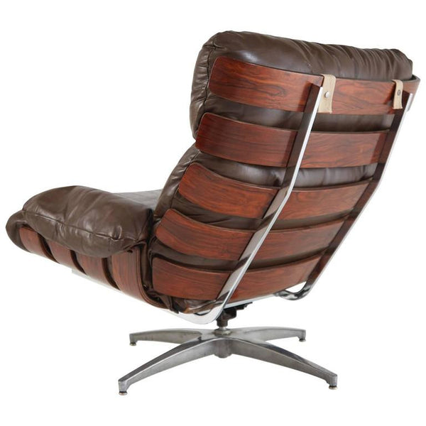 *SOLD* Rosewood and Leather Swivel Armchair by Directional Brazil, circa 1960