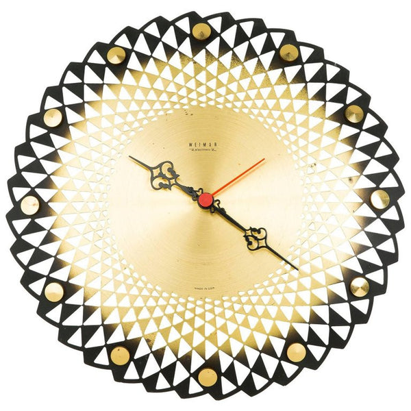 Weimar Electronic Brass Cut-Out Detail Wall Clock, circa 1950