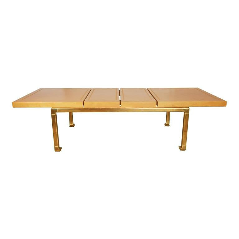 Custom Mastercraft Lacquered Faux Ostrich Skin & Brass Expandable Dining Table
