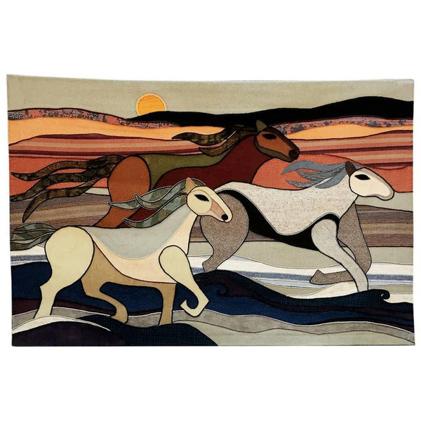 Limited Edition Wild Horses Tapestry by Helen Webber Dated 1979