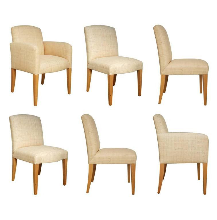 *SOLD* Donghia Woven Grasscloth, Custom Plaza Chairs, Set of Six