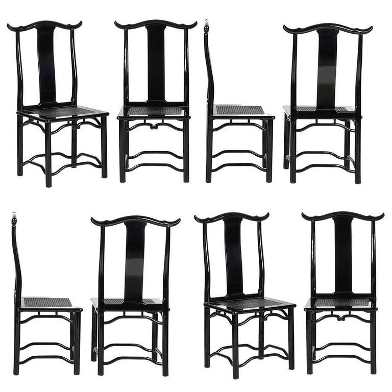 *SOLD* Set of Eight Italian Black Lacquered Dining Chairs, circa 1970