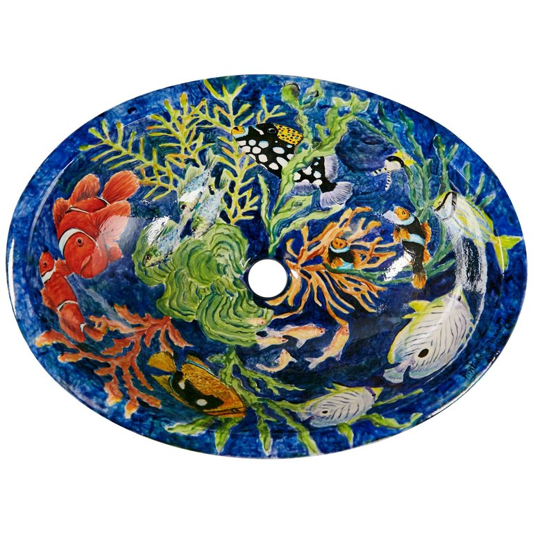 Hand-Painted Aquatic Porcelain Sink, Chile 20th Century