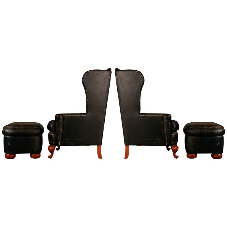 Ralph Lauren Pair of Intentionally Distressed Leather Wingback Chairs & Ottoman