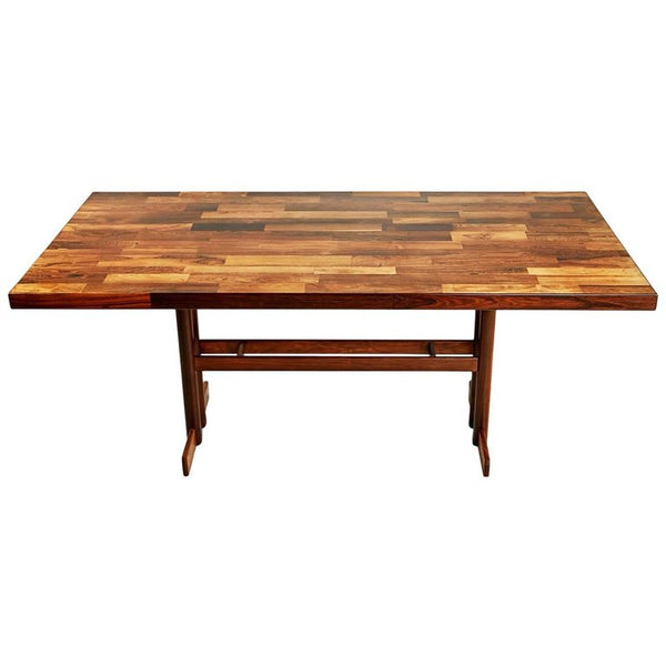 Jacaranda Rosewood Patchwork Trestle Dining Table, Brazil, circa 1970