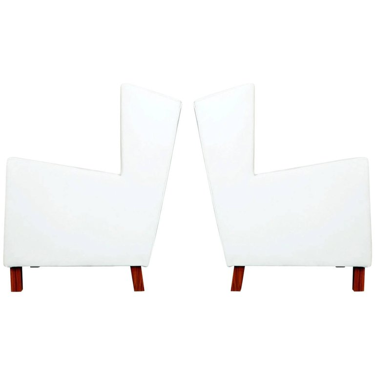Jacaranda and White Leather Wingback Armchairs, Brazil, circa 1960