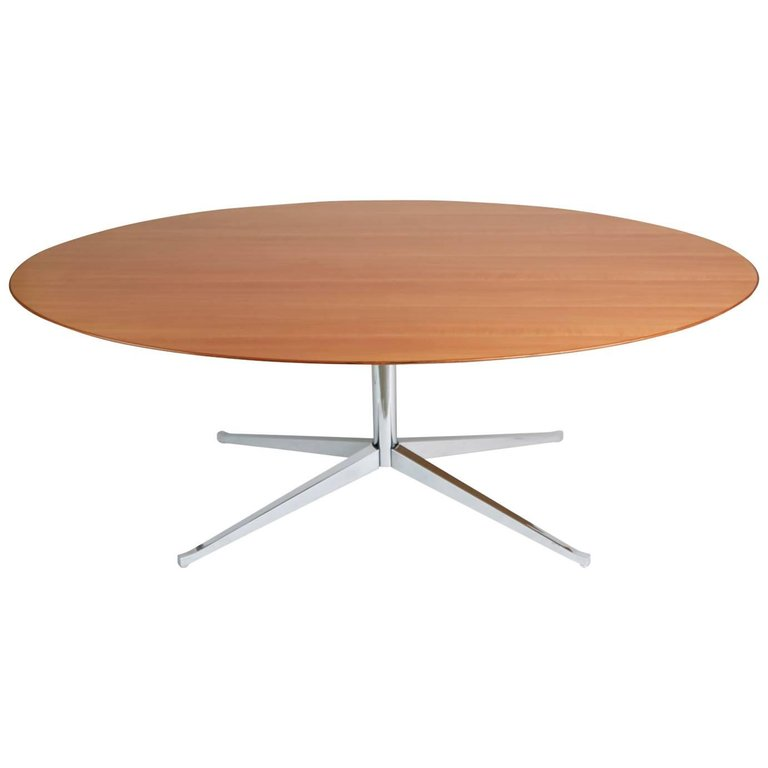 *SOLD* Florence Knoll Pearwood and Chrome Conference or Dining Table
