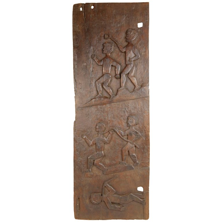 African Wooden Granary Door with Carved Motifs