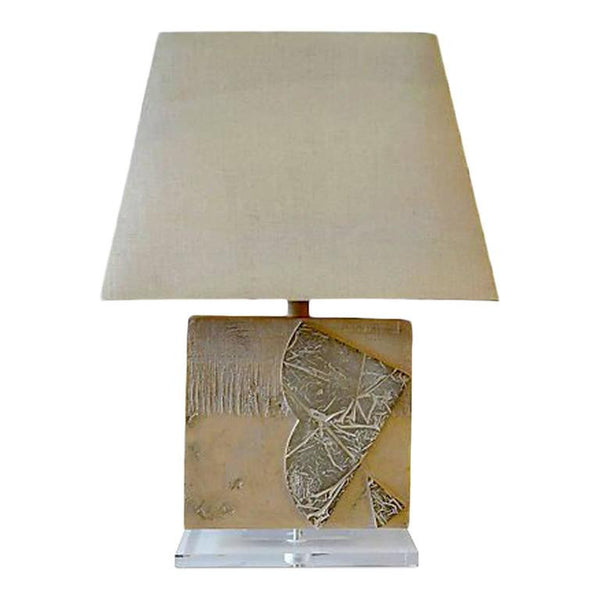 Gesso and Lucite Table Lamp