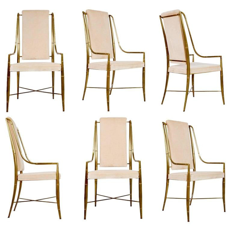 Mastercraft Gilt Brass & Champagne Velvet Dining Chairs, Set of Six, circa 1970