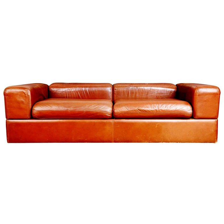 *SOLD* Tito Agnoli Leather Sofa and Convertible Bed for Stendig, Italy