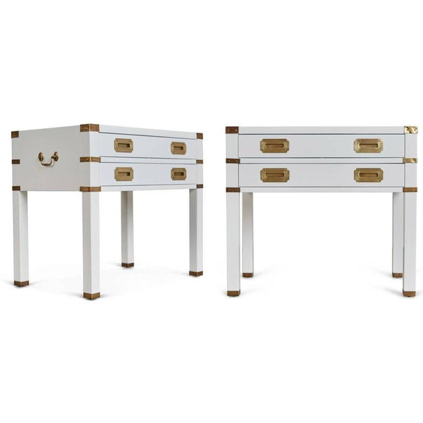 *SOLD* Campaign Style Nightstands with Brass Hardware, Circa 1960