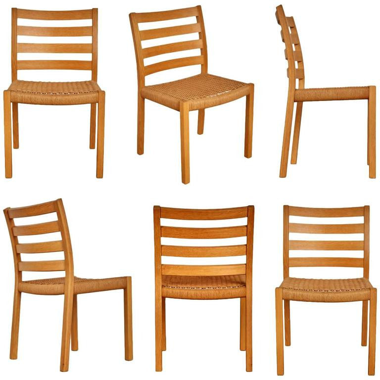 *SOLD* Jorgen Moller for J.L. Møller Oak Dining Chairs, Six