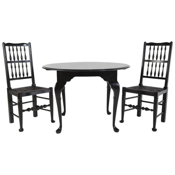 Black Lacquer Colonial Revival Style Chairs & Queen Anne Style Table