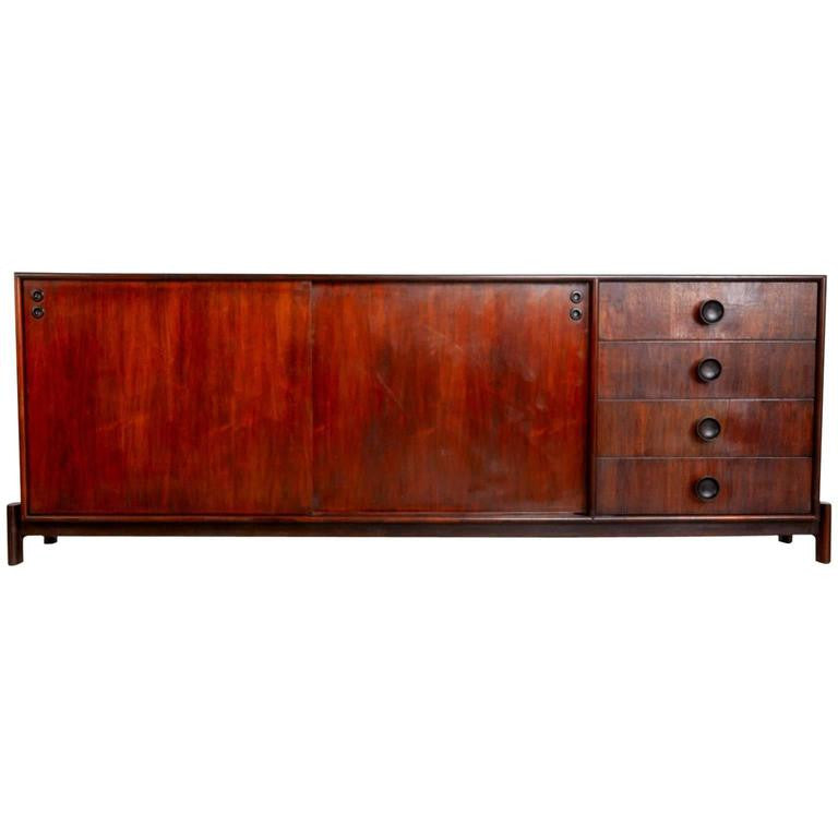 Carlo Hauner for Forma Brazil Large Rosewood Credenza on Plinth Base, circa 1960