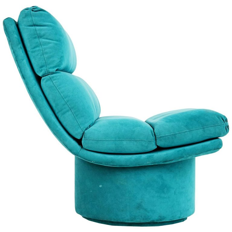 Channel Tufted Swivel Chair, circa 1980