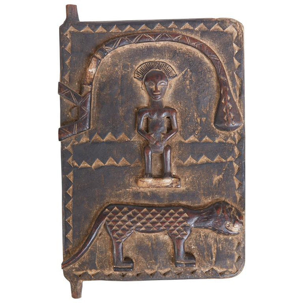 Petite African Wooden Granary Door with Carved Motifs