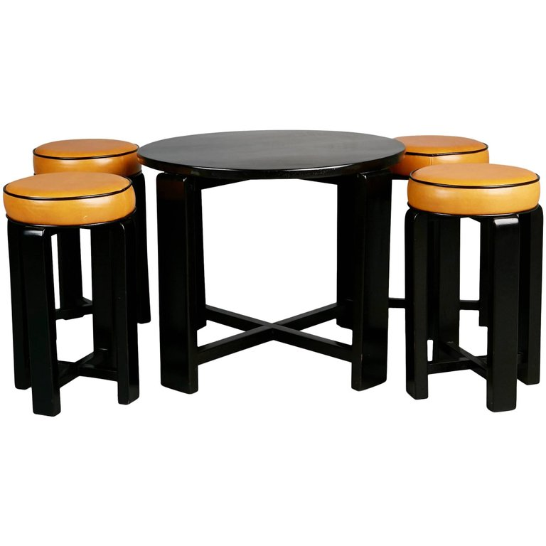 French Art Deco Cocktail Nesting Table and Four Leather Stools, circa 1940