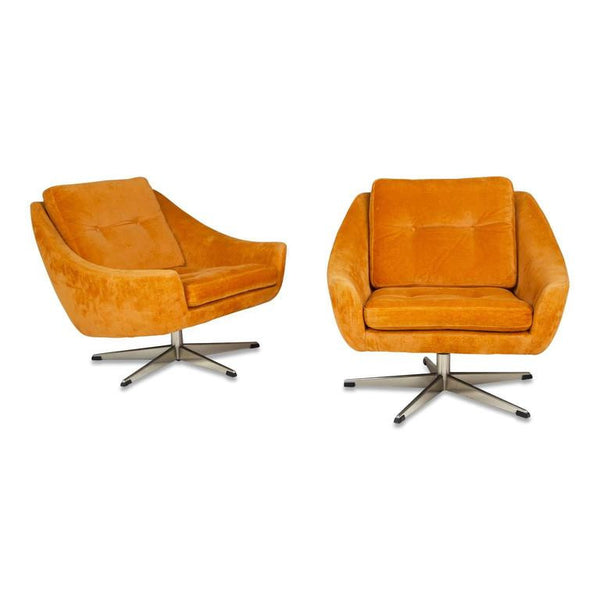 *SOLD* John Stuart Velvet Swivel Lounge Chairs, Pair, Circa 1960
