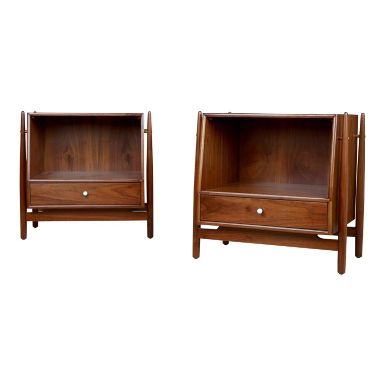 Kipp Stewart Declaration Nightstands for Drexel, Pair, Newly Restored