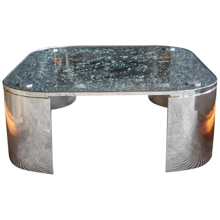 Custom Square Crackle Glass Coffee Table by Steve Chase from Chase Designed Home