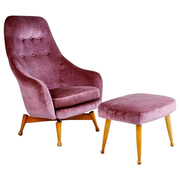 *SOLD* Scandinavian Velvet Swivel Lounge Armchair and Ottoman, circa 1960