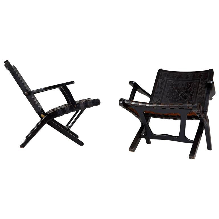 Peruvian Black Tooled Leather Folding Chairs, Pair, circa 1950