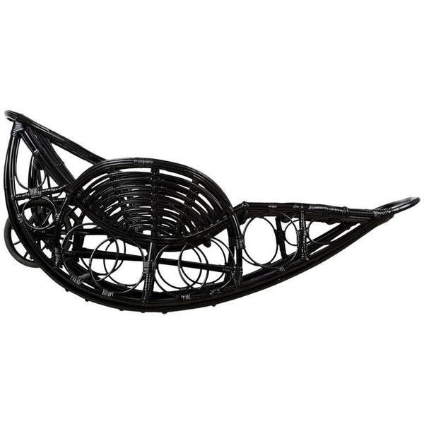 1920s Art Deco Black Lacquer Stick Wicker Daybed, Restored