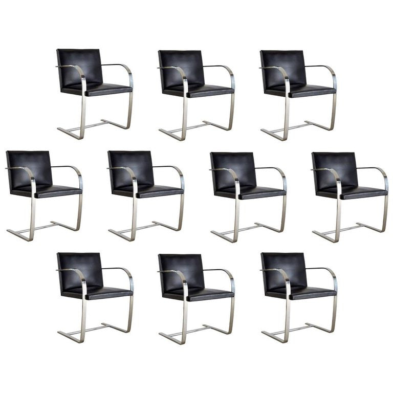 *SOLD* Set of Ten Signed Knoll Associates Brno Chairs by Mies van der Rohe