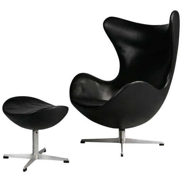 Arne Jacobsen Leather Egg Chair & Footstool for Fritz Hansen, Double Signed 1965