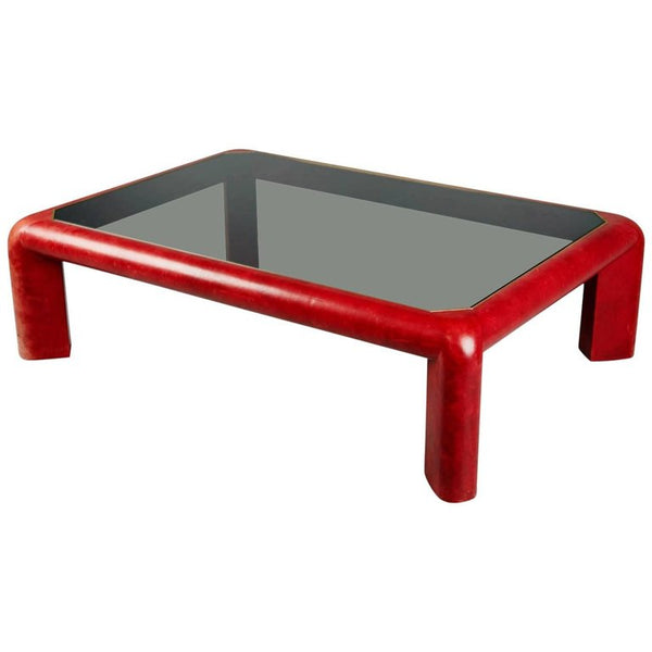 Karl Springer Signed Lipstick Red Leather and Brass Cocktail Table, Dated 1984