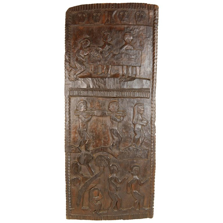 African Wooden Decorative Granary Door with Multiple Carved Motifs
