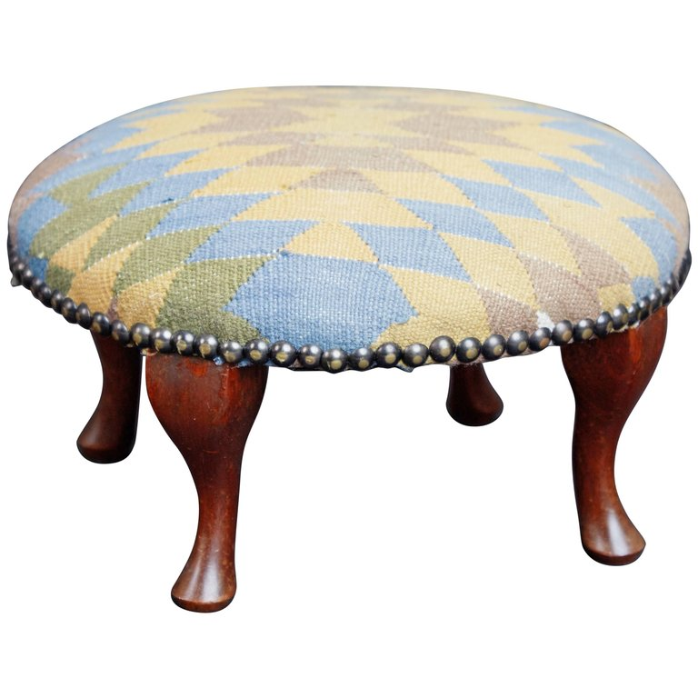 Petite Moroccan Kilim Footstool with Bronze Nailheads