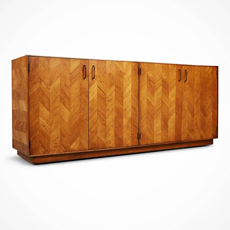 *SOLD* Newly Restored Lane Altavista Herringbone Sideboard or Credenza, circa 1960