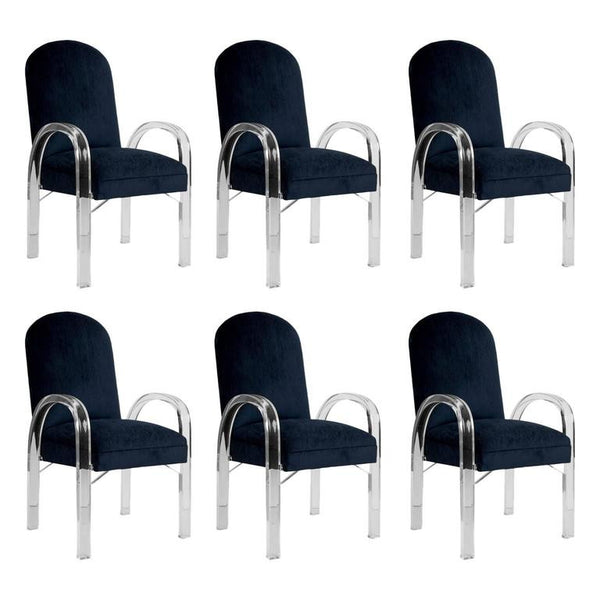 Charles Hollis Jones Waterfall Lucite Dining Chairs, Set of Six, circa 1970