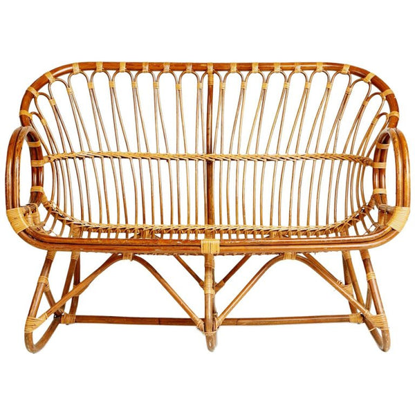 Sculptural Bent Bamboo Settee in the Style of Franco Albini, circa 1960
