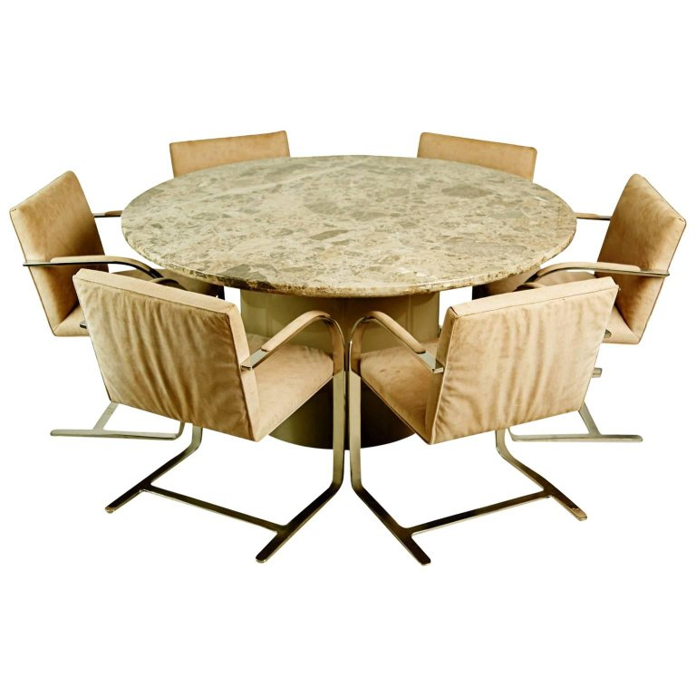 Brueton Granite Table and Six Chrome Dining Chairs, circa 1970