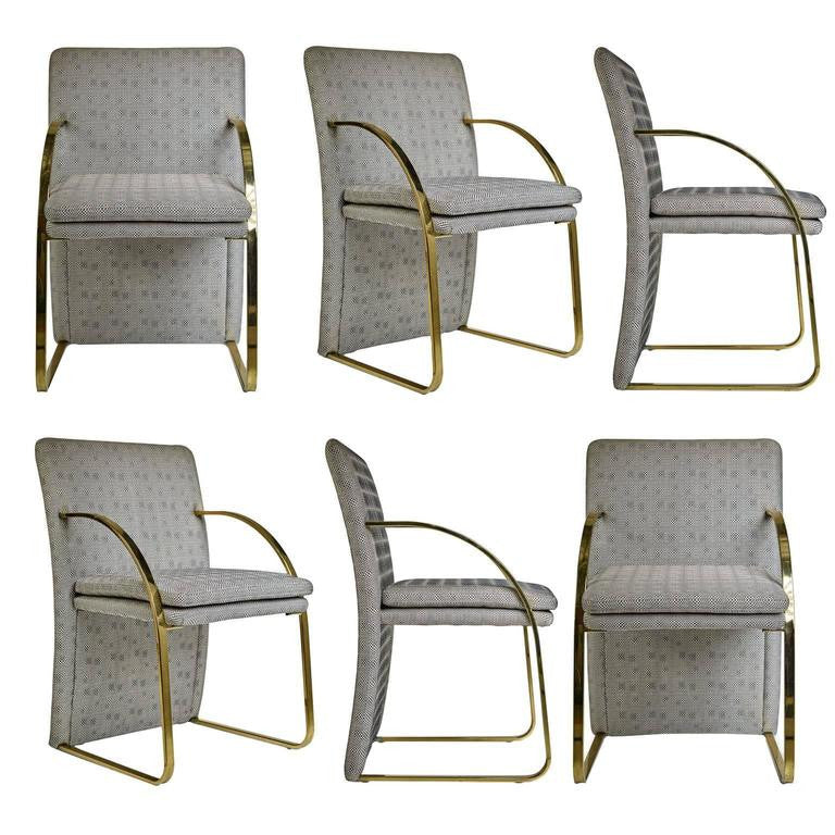*SOLD* Set of Six Brass Dining Chairs in the Style of Milo Baughman for DIA