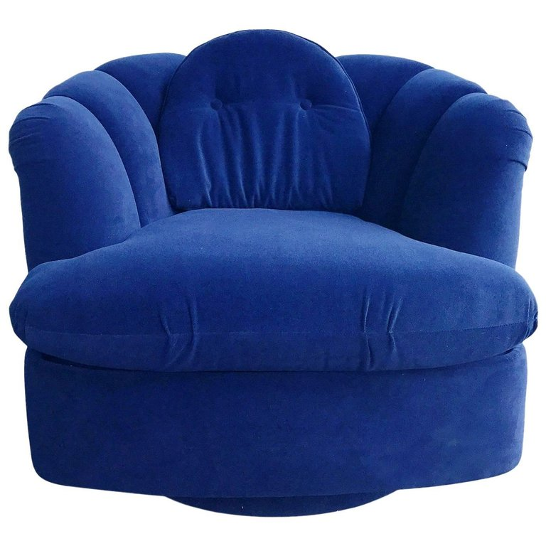Restored Velvet Swivel Lounge Chair by Milo Baughman for Thayer Coggin