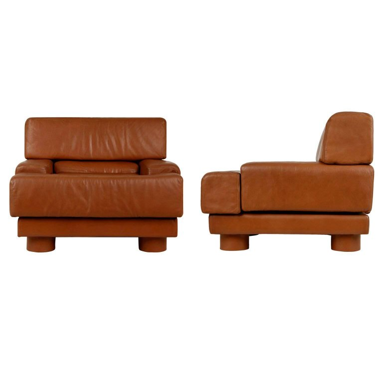 *SOLD* Percival Lafer Leather Club Chairs, Brazil, Pair, circa 1960