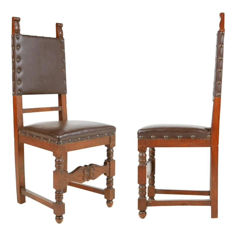 Italian Renaissance Revival Style Side Chairs, Pair