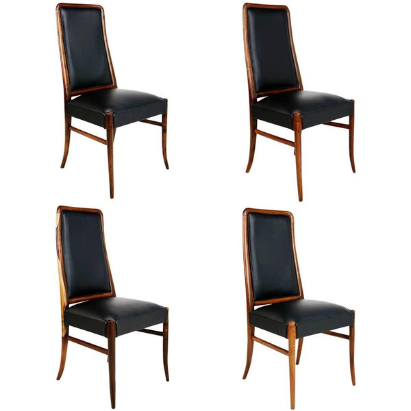 Jacaranda and Black Leather Dining Chairs, Set of Four, Brazil, circa 1970