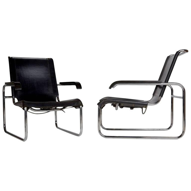 *SOLD* Thonet B35 Lounge Chairs by Marcel Breuer, Pair, Circa 1960